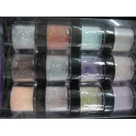 Caja de polvos acrílicos de colores con purpurina