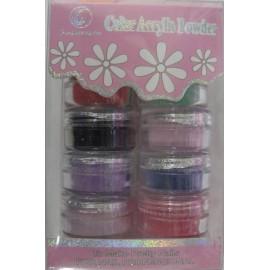 Caja de polvos acrílicos de 8 colores perlados